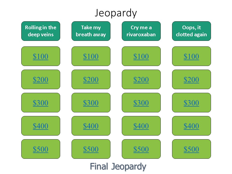 Medical Jeopardy: Anticoagulation For Venous Thromboembolism